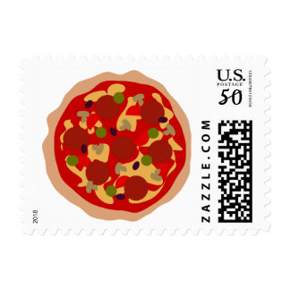 Funny pepperoni pizza postage stamps