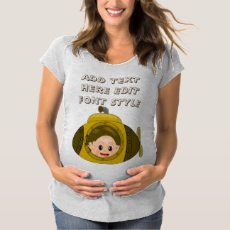 Funny personalized baby on Submarine Maternity T-Shirt