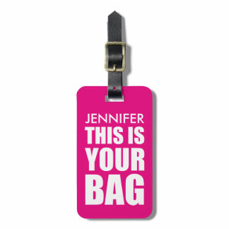 Funny Personalized Bag Attention Bright Pink Luggage Tag