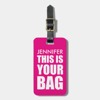 FUNNY PERSONALIZED BAG ATTENTION | FUNNY PINK LUGGAGE TAG