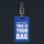"Funny Personalized Bag Attention Travel Luggage Luggage Tag<br><div class=""desc"">Spot your travel bag with this stylish blue luggage tag,  customize it with your name and personal details on the back.</div>"