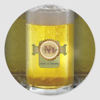 Funny Personalized Beer Glass Classic Round Sticker