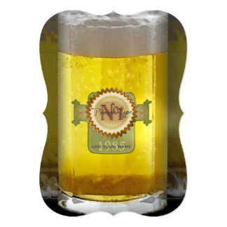 Funny Personalized Beer Glass 5x7 Paper Invitation Card