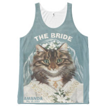 Funny personalized cat bride All-Over-Print tank top