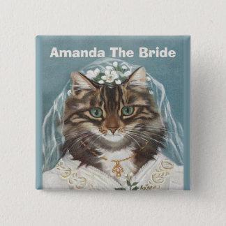 Funny personalized cat bride pinback button