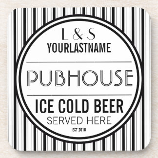 Funny Personalized Couple's Pubhouse  Sign Coaster