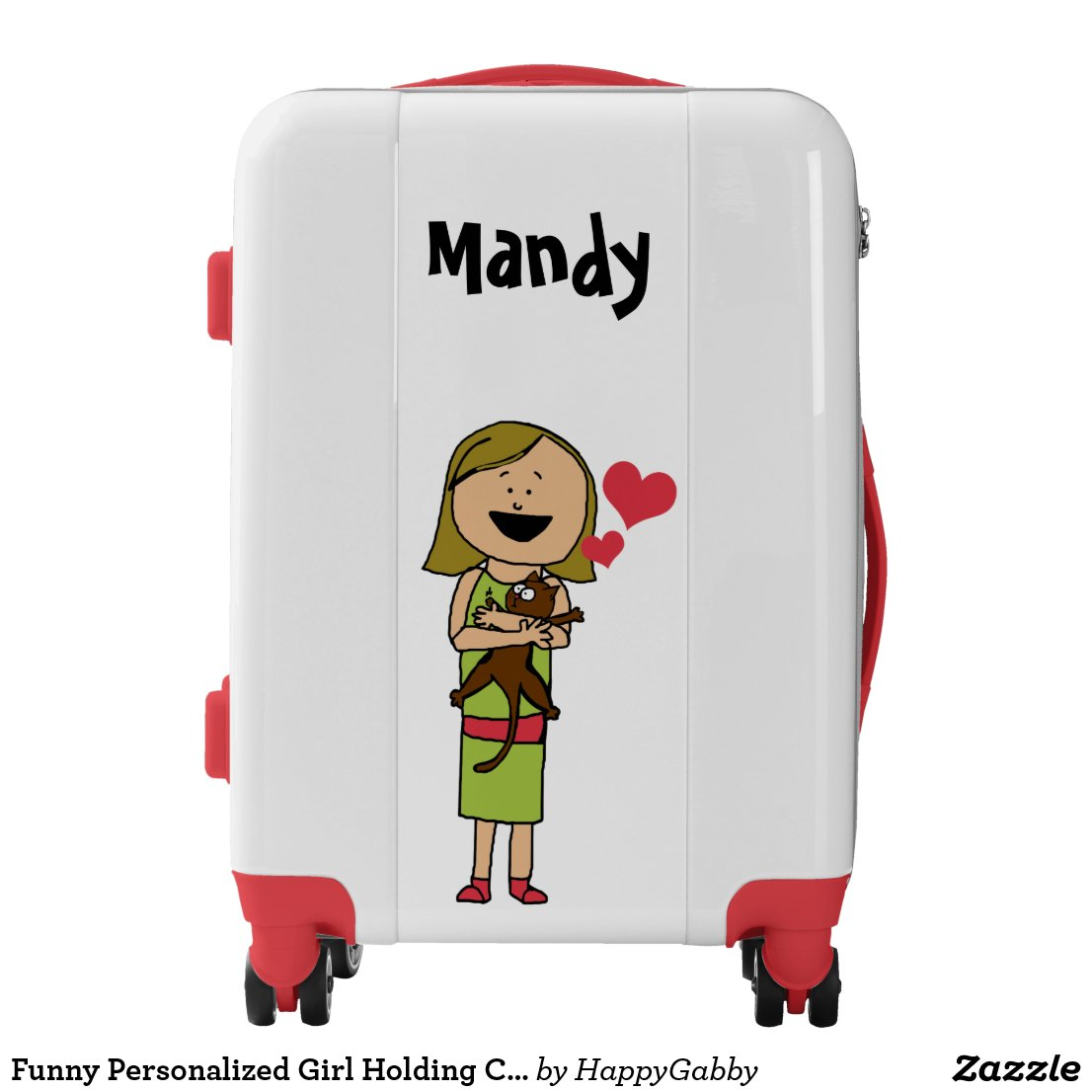Personalized Girl Holding Cat Suitcase