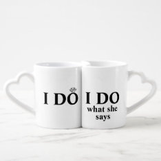 "Funny Personalized ""I Do"" Wedding or Anniversary Coffee Mug Set at Zazzle"