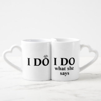 "Funny Personalized ""I Do"" Wedding or Anniversary Coffee Mug Set"