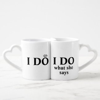 "Funny Personalized ""I Do"" Wedding or Anniversary Lovers Mug"