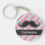 Funny personalized mustache pink aqua blue stripes Single-Sided round acrylic keychain