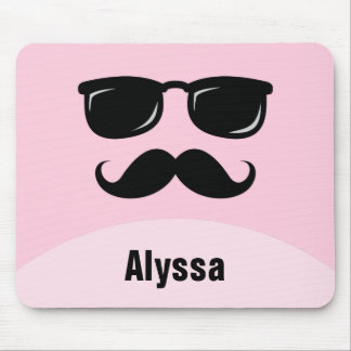 Funny personalized pink mousepad with mustache