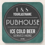 """Funny Personalized Pubhouse Chalkboard Sign Beverage Coaster<br><div class=""""desc"""">This funny personalized bar coaster set makes the perfect wedding or anniversary gift for beer lovers! Add the groom &amp; bride&#39;s or husband &amp; wife&#39;s first initials and last name, and the year they became a couple or got married to create a unique keepsake that is sure to bring smiles...</div>"""