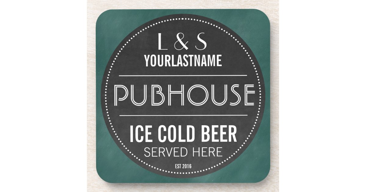 Funny Personalized Pubhouse Chalkboard Sign Beverage Coaster Zazzle Com
