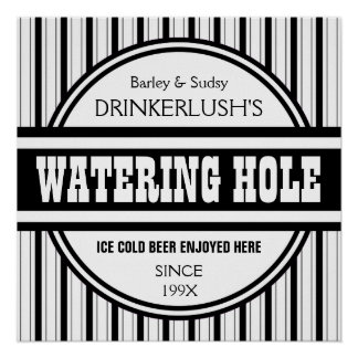 Funny Personalized Watering Hole Home Bar Sign