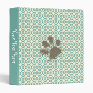 Funny Pet; Blue-Green & Cream Floral 3 Ring Binder