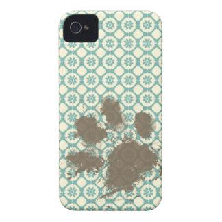 Funny Pet; Blue-Green & Cream Floral iPhone 4 Case-Mate Case