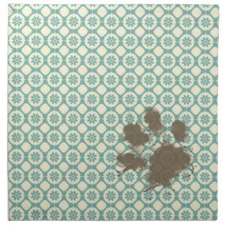 Funny Pet; Blue-Green & Cream Floral Cloth Napkin