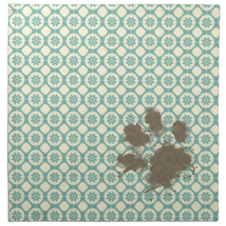 Funny Pet; Blue-Green & Cream Floral Cloth Napkins