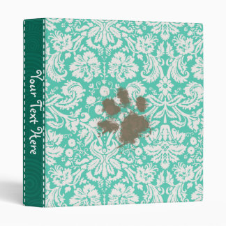 Funny Pet Owner Seafoam Green Damask Binder