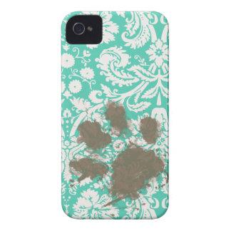 Funny Pet Owner Seafoam Green Damask iPhone 4 Case-Mate Case