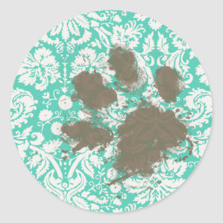 Funny Pet Owner Seafoam Green Damask Classic Round Sticker