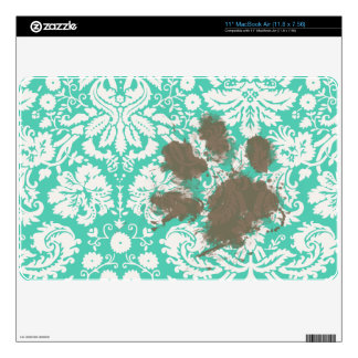Funny Pet Owner Seafoam Green Damask Decals For The MacBook
