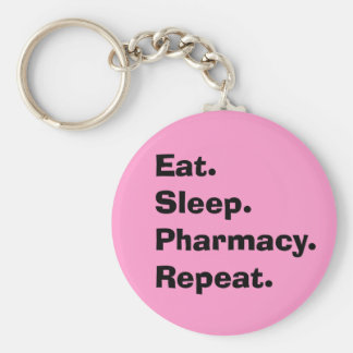 "Funny Pharmacist Gifts ""Eat, Sleep, Pharmacy..."" Keychain"
