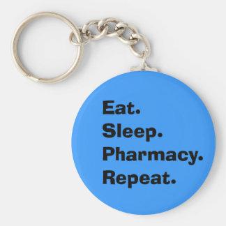"Funny Pharmacist Gifts ""Eat, Sleep, Pharmacy..."" Keychain"