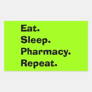 "Funny Pharmacist Gifts ""Eat, Sleep, Pharmacy..."" Rectangular Sticker"