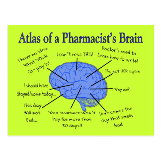 Funny Pharmacist's Brain Gifts Postcard