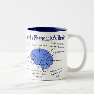 Funny Pharmacist's Brain Gifts Two-Tone Coffee Mug