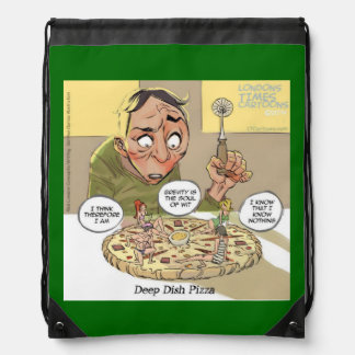 Funny Philosophy DeepDishPizza Drawstring Backpack
