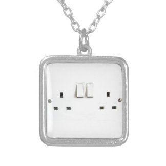 Funny Photo of UK Electrical Outlet Square Pendant Necklace