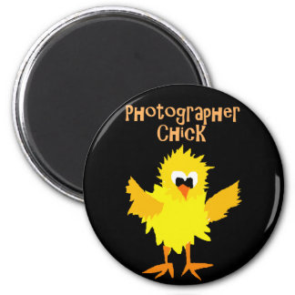 Funny Photographer Chick Cartoon Art Magnet