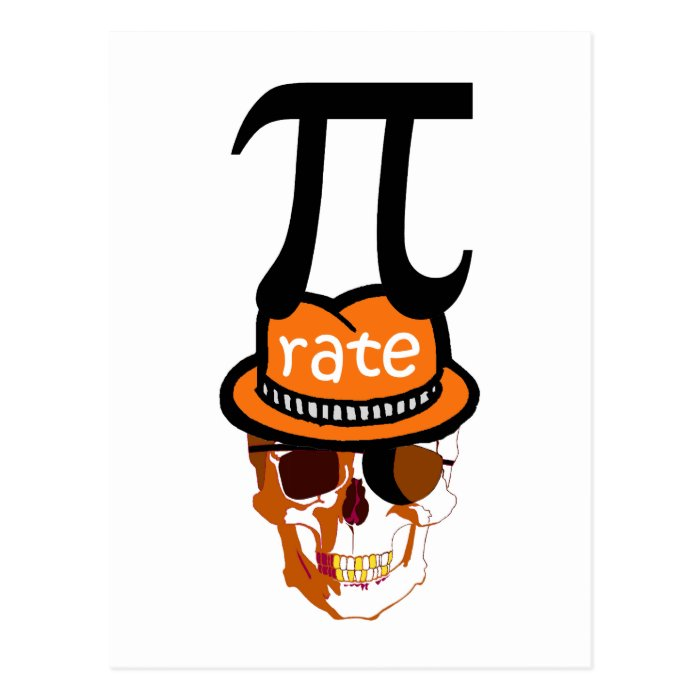 Funny pi pirate halloween postcard