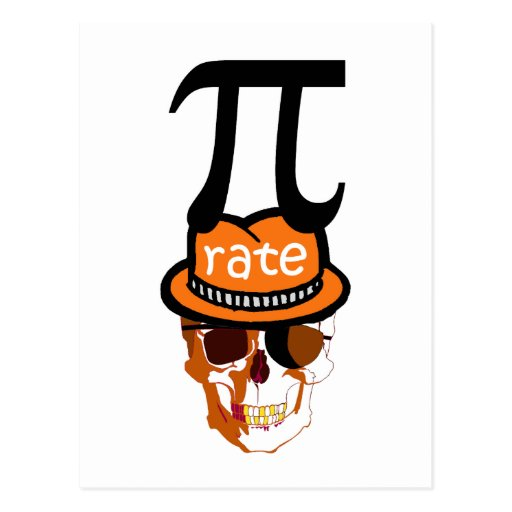 Funny pi pirate halloween postcards