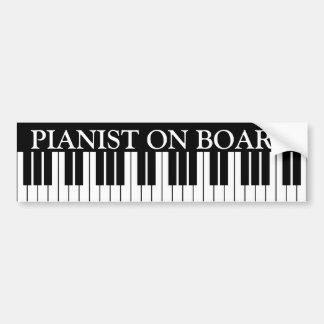Funny piano keys bumper sticker for pianist