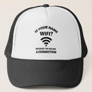 funny pick up line wifi joke trucker hat