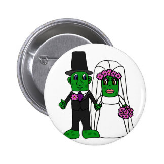 Funny Pickle Bride and Groom Wedding Art Pinback Buttons