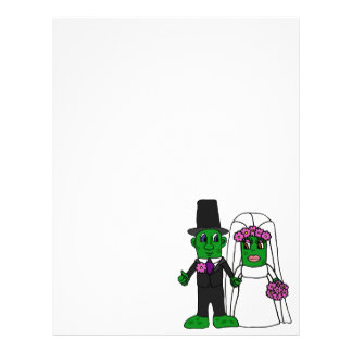 Funny Pickle Bride and Groom Wedding Art Letterhead