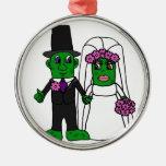 Funny Pickle Bride and Groom Wedding Art Christmas Tree Ornament