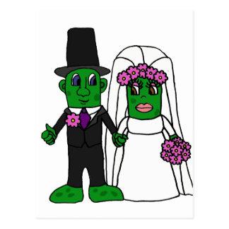Funny Pickle Bride and Groom Wedding Art Postcard