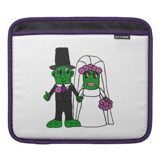Funny Pickle Bride and Groom Wedding Cartoon Sleeve For iPads