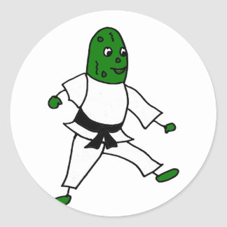 Funny Pickle doing Karate Classic Round Sticker