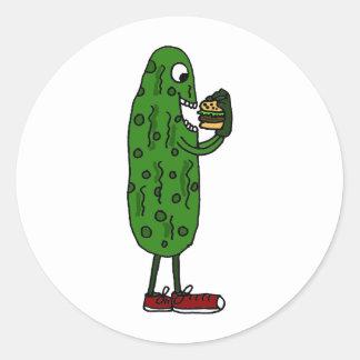 Funny Pickle Eating Hamburger Cartoon Classic Round Sticker