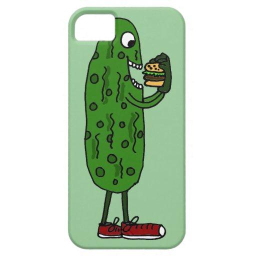 Funny Pickle Eating Hamburger Cartoon iPhone SE/5/5s Case