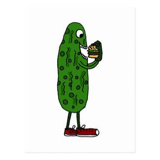 Funny Pickle Eating Hamburger Cartoon Postcard