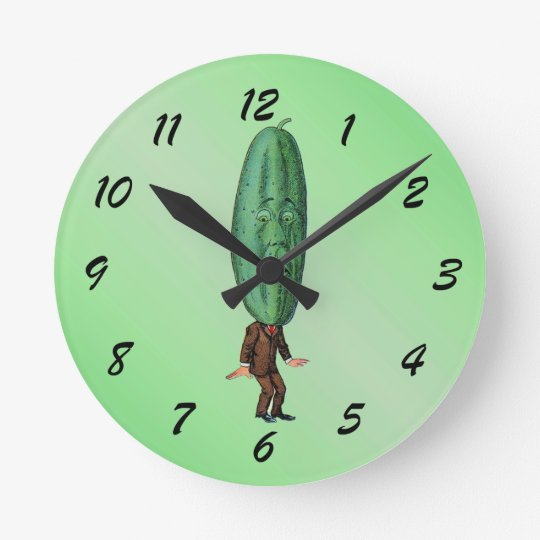Funny Pickle Head Man Wearing Suit Round Clock
