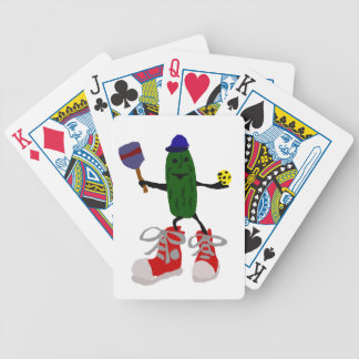 Funny Pickle Holding Pickleball and Paddle Bicycle Playing Cards